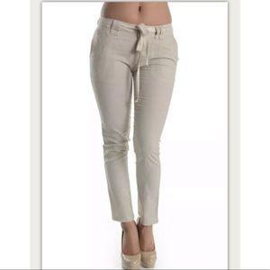 Linen Blend Cropped Pants Drawstring Waist Taupe